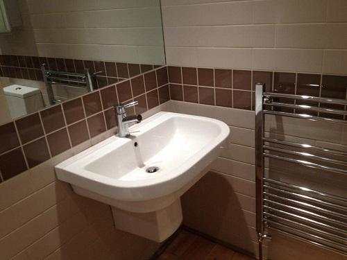 Semi-pedastal Basin and Towel Rail